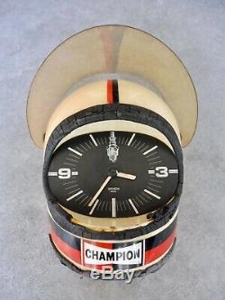 Bougie Champion Horloge De Garage Casque Pilote 1970
