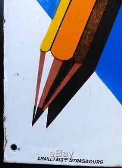 CARAN D'ACHE Plaque émaillée plate double face Ecriture Crayon Années 1920 RARE