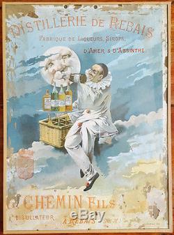 CARTON ABSINTHE CHEMIN Fils à Rebais Pierrot lune rare ancien et unique