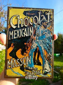 CHOCOLAT MASSON TÔLE LITHO 1892 d'après Eugène GRASSET