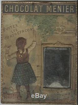 CHOCOLAT MENIER Panneau-cadre miroir en tôle estampée et imprimée 1895 30x40cm