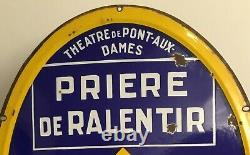 CITROËN Plaque en tôle émaillée Théâtre de pont-aux-dames 83 X 63 cm TTB état