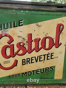 Caisse Bidon Dhuile ancien Castrol avec tôle et non plaque émaillée, Shell Esso