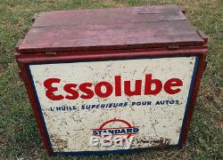 Caisse a huile BIDON ESSOLUBE ESSO oil can tin no plaque emaillée