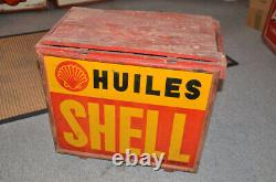 Caisse bidon huile ancienne SHELL plaques toles non émaillée garage auto station
