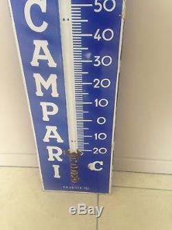Campari Ancien Grand (1m11) Thermomètre Émaillée Plaque Émaillée Strasbourg