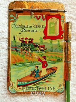 Carnet publicitaire tôle lithographiée automobile NAPHTACYCLE 1900 Marseile