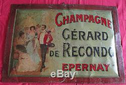Champagne GERARD DE RECONDO rarissime tole lithographiée Epernay 1895-1905