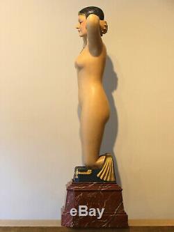 Charmereine Mannequin Nubienne Grand Presentoir En Platre Publicitaire 1925