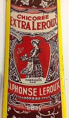 Chicorée Leroux, ancienne plaque de propreté émaillée, rare modele