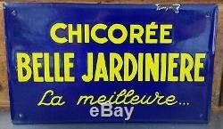 Chicorée Belle Jardinière Plaque Émaillée Publicitaire Années 50/60 Rare