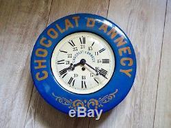 Chocolat D'annecy Horloge Publicitaire Ancienne En Tôle Litho