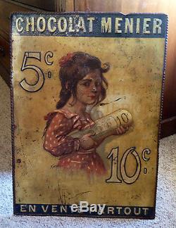 Chocolat MENIER Plaque tole litho pub, 1890 signée ROEDEL, pas émaillée, RARE