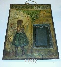 Chocolat Meunier véritable plaque publicitaire 1900 miroir 30 par 40 cm