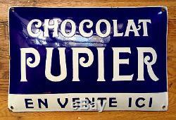 Chocolat PUPIER Plaque émaillée bombée publicitaire, comme neuve! Rare