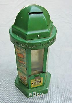 Chocolat menier ancien kiosque tirelire boite plaque publicitaire distributeur