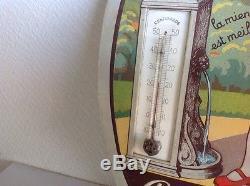 Chromo Litho Chocolat Le Rhone Pas Plaque Émaillée Menier Thermomètre Carton Pub