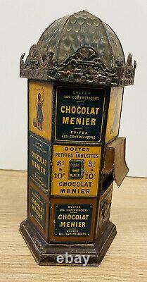 D263 Rare Kiosque Distributeur Chocolat Menier En Tole Lithographié Ht 24cm