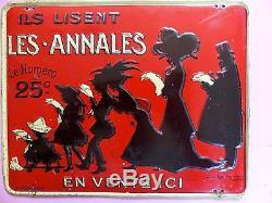DE LOSQUES Superbe rare tôle Litho LES ANNALES Fin XIXème Famille Silouhettes