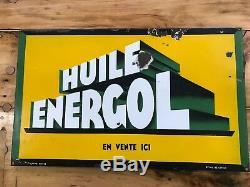DV8775 PLAQUE EMAILLEE ANCIENNE HUILE ENERGOL 78X48 cm ORIGINAL
