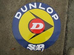 Dunlop plaque émaillée pneu ancien deco garage station service