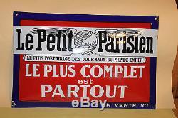 ETAT EXCEPTIONNEL ANCIENNE PLAQUE PUB EMAILLEE BOMBEELE PETIT PARISIEN