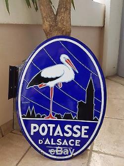 Exceptionnelle Plaque Emaillee Ancienne Potasse D Alsace Double Face Alsace