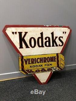 Enamel Sign Kodaks Kodak Plaque Émaillée Vintage Old 1940 Film Agfa