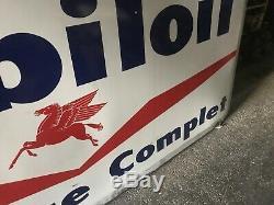 Énorme plaque emaillee ancienne garage Mobiloil 1m47 Par 2m90
