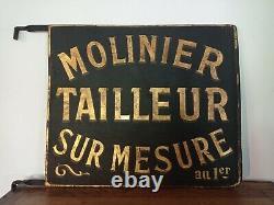 Enseigne ancienne tailleur sur mesure mode plaque no émaillée