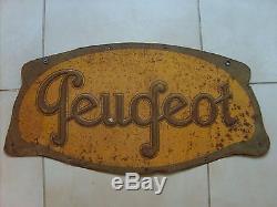 Enseigne panneau Peugeot vélo voiture essence en tole signée Andreis authentique
