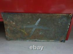 Exceptionnelle Plaque Emaillee Ancienne Bouillon Kub 49 X 23 CM Bombée Ttbe