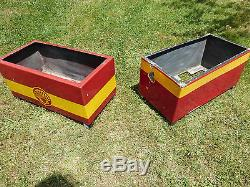 Exeptionnelle paire de jardinières anciennes SHELL tôle émaillée Garage essence