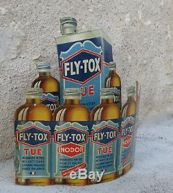 FLY TOX, présentoir, publicité ancienne, fly-tox, flytox, pas émaillé, fly tox