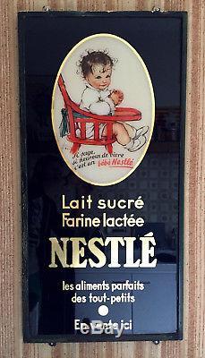 Fixé sous verre 1934 Bébé NESTLE illustrateur Dawson no plaque émaillée pub