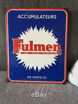 Fulmen, ancienne plaque émaillée batterie automobile 38 X 31 cm année 60/70