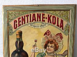 GENTIANE KOLA tôle pas de plaque émaillée vers 1900 Cola
