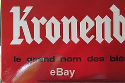 GRANDE plaque emaillée ancien KRONENBOURG Emaillerie Alsaciennes 1950 ROUGE