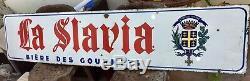 Grande Belle plaque émaillée ancienne La slavia bière des gourmets 190 x 40 cm