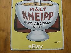 Grande Plaque Emaillée Ancienne Malt Kneipp
