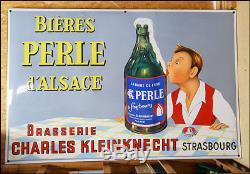 Grande Plaque Emaillee Biere Perle D'alsace Brasserie Charles Kleinknecht Eas