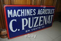 Grande Plaque Emaillee Machines Agricole C. Puzenat 97 CM X 49 CM Eas