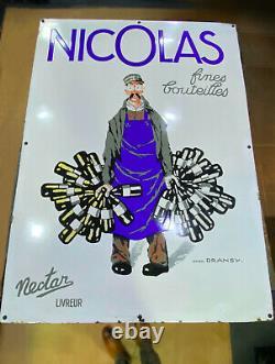 Grande Plaque Emaillée Vins Nicolas Nectar Par Dransy 1927