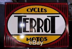 Grande Plaque émaillée TERROT cycles motos 68cm 48cm