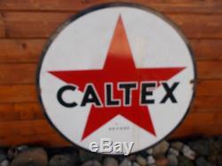 Grande plaque emaillée double faces CALTEX (huile, bidon, bibendum)