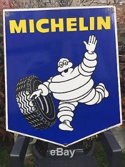 Grande plaque emaillee MICHELIN 80cm Par 65cm Double Face Et Avec Potence