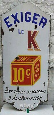Grande plaque émaillée ancienne Maggi KUB 1907 bombée 110 cm x 50 cm WW1