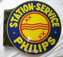 Grande plaque émaillée ancienne TSF PHILIPS STATION SERVICE 45 X 48 cm RADIO