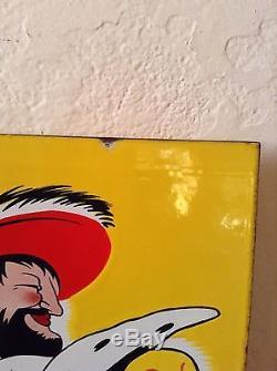 Grande plaque emaillee double face BIERES FORT-CARRE dessin De CAPPIELLO EAS