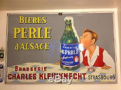 Grande plaque émaillée ancienne Bière PERLE